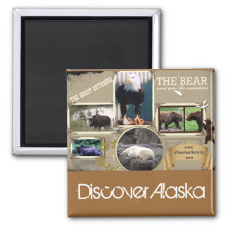 The Great Outdoors in Alaska 2 Inch Square Magnet