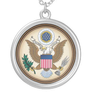 The Great Presidential Seal of the USA Silver Plated Necklace