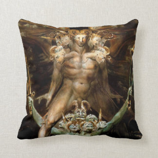 The Great Red Dragon and the Beast from the Sea Throw Pillow