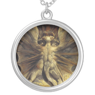The Great Red Dragon and the Woman Clothed in Sun Round Pendant Necklace