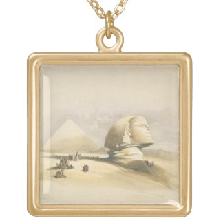 "The Great Sphinx and the Pyramids of Giza, from ""E Gold Plated Necklace"