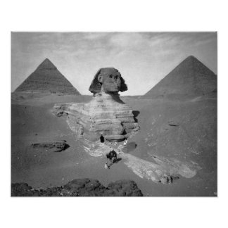 The Great Sphinx & Pyramids, 1878. Vintage Photo Poster