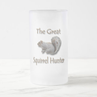 The Great Squirrel Hunter gray Frosted Glass Beer Mug
