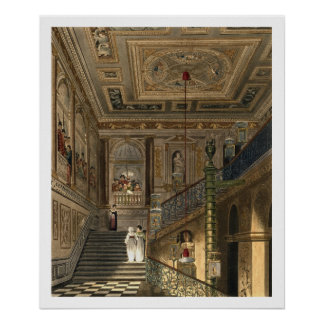 The Great Staircase at Kensington Palace From Pyne Poster