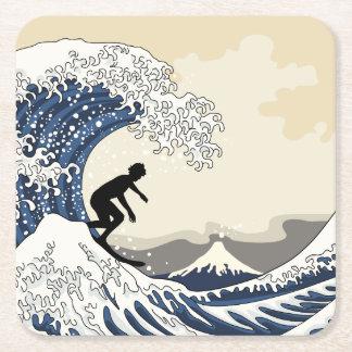 The Great Surfer of Kanagawa Square Paper Coaster