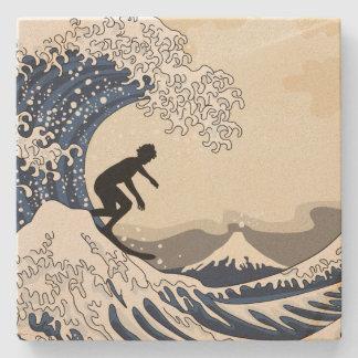 The Great Surfer of Kanagawa Stone Coaster