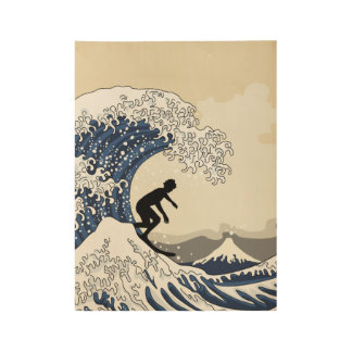The Great Surfer of Kanagawa Wood Poster