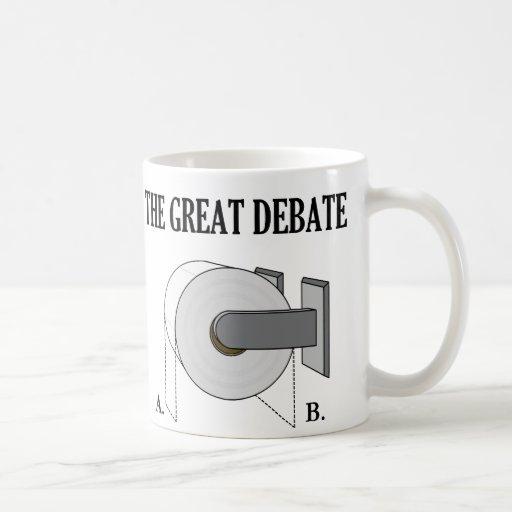 The Great Toilet Paper Bathroom Debate Classic White Coffee Mug