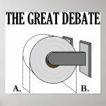 The Great Toilet Paper Bathroom Debate Poster