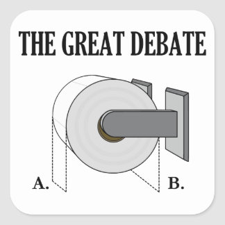The Great Toilet Paper Bathroom Debate Square Sticker