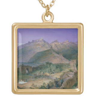 The Great Wall of China, 1886 (w/c) Gold Plated Necklace