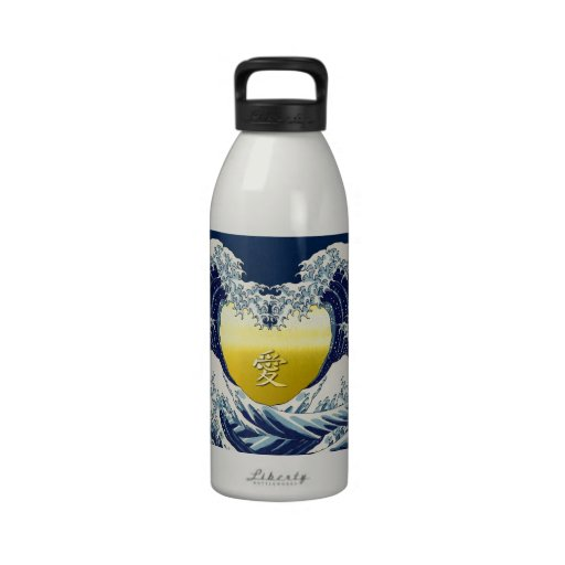 The Great Wave+愛=Love. Drinking Bottles
