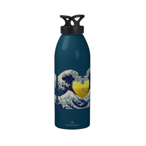The Great Wave+愛=Love. Drinking Bottle