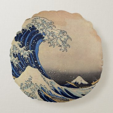 Beach Themed The Great Wave by Hokusai Vintage Art Water Fleece Round Pillow