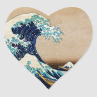 The Great Wave by Hokusai Vintage Japanese Heart Sticker