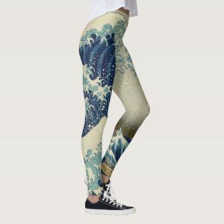 The Great Wave by Hokusai, Vintage Wood Block Art Leggings