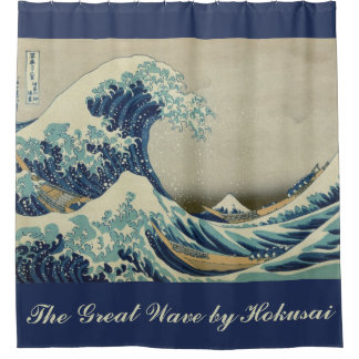 The Great Wave by Hokusai, Vintage Wood Block Art Shower Curtain