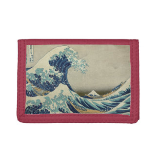 The Great Wave by Hokusai, Vintage Wood Block Art Tri-fold Wallets