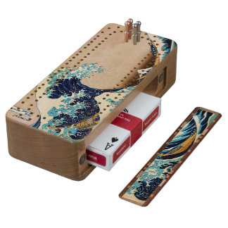The Great Wave by Hokusai Wood Cribbage Board