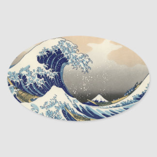 """The Great Wave"" copy of Hokusai's original c.1930 Oval Sticker"