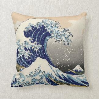 """""""The Great Wave"""" copy of Hokusai's original c.1930 Throw Pillow"""