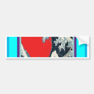The great wave in red designed by Sharles Bumper Sticker