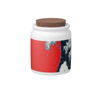 The great wave in red designed by Sharles Candy Jars