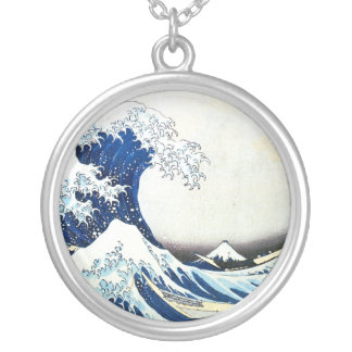 """The Great Wave"" Japanese Painting by Hokusai Silver Plated Necklace"