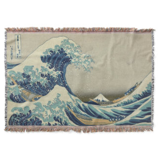 The Great Wave Mt Fuji Throw Blanket