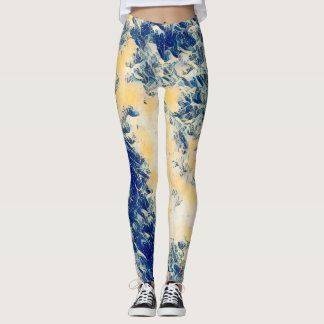 The Great Wave of Kanagawa Style Leggings