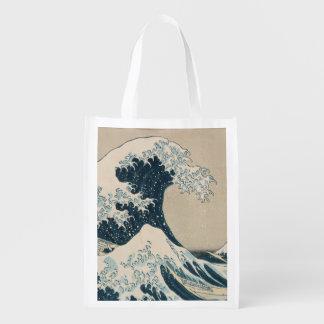 The Great Wave of Kanagawa, Views of Mt. Fuji Reusable Grocery Bag