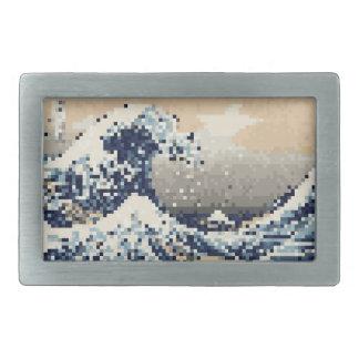 The Great Wave off Kanagawa 8 Bit Pixel Art Rectangular Belt Buckles