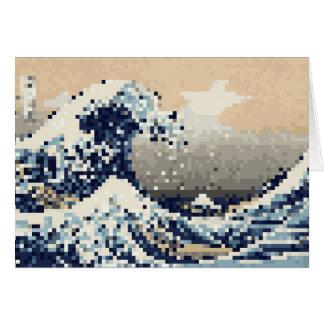 The Great Wave off Kanagawa 8 Bit Pixel Art Card