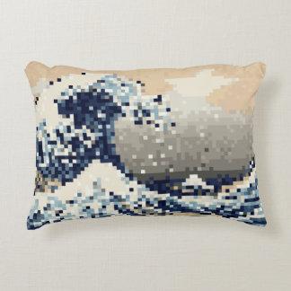 The Great Wave off Kanagawa 8 Bit Pixel Art Decorative Pillow