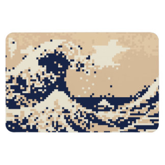The Great Wave off Kanagawa 8 Bit Pixel Art Magnet