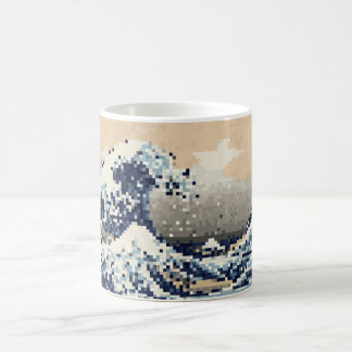 The Great Wave off Kanagawa 8 Bit Pixel Art Basic White Mug