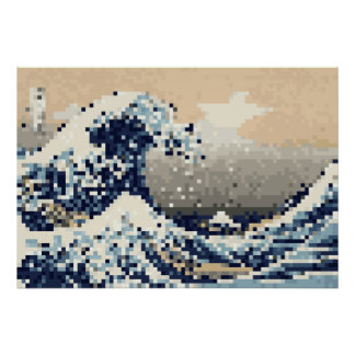 The Great Wave off Kanagawa 8 Bit Pixel Art Poster
