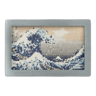 The Great Wave off Kanagawa 8 Bit Pixel Art Rectangular Belt Buckle