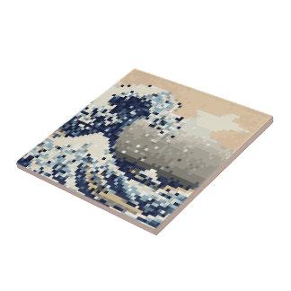 The Great Wave off Kanagawa 8 Bit Pixel Art Tile