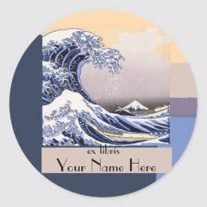 The Great Wave off Kanagawa Bookplate sticker