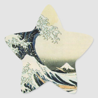 The Great Wave off Kanagawa by Katsushika Hokusai Star Sticker