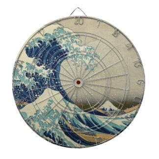 The Great Wave off Kanagawa Dartboard With Darts