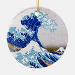 The Great Wave off Kanagawa, Hokusai Double-Sided Ceramic Round Christmas Ornament