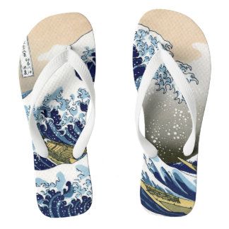 The Great Wave Off Kanagawa Hokusai Ukiyo-e Flip Flops