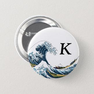 The Great Wave off Kanagawa: Monogram Pinback Button