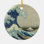 The Great Wave off Kanagawa Double-Sided Ceramic Round Christmas Ornament