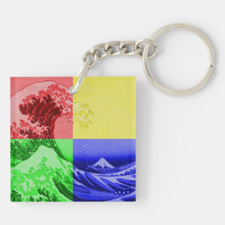 The Great Wave off Kanagawa (quadrant colors) Double-Sided Square Acrylic Keychain