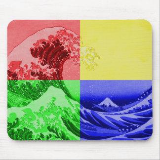 The Great Wave off Kanagawa (quadrant colors) Mousepad