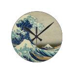 The Great Wave off Kanagawa Round Clock