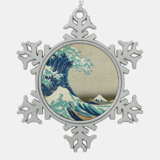 The Great Wave off Kanagawa Snowflake Pewter Christmas Ornament